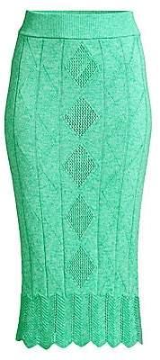 Victor Glemaud Women's Crochet Midi Pencil Skirt