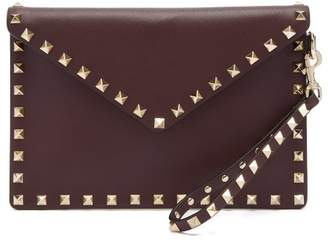Valentino Rockstud Embellished Leather Pouch - Womens - Burgundy