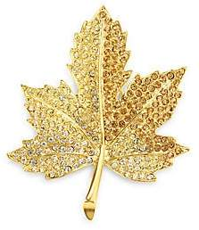 Kenneth Jay Lane Pavé Crystal Maple Leaf Pin