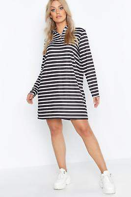 boohoo NEW Womens Plus High Neck Striped Zip Front T-Shirt Dress in