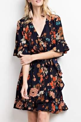 Easel Floral Wrap Dress