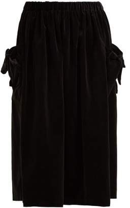 Comme des Garcons Bow Trim Velvet Midi Skirt - Womens - Black