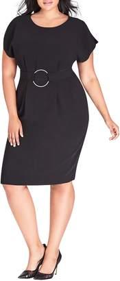 City Chic Empower Belted Sheath Dress