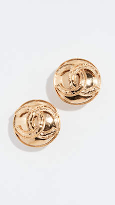 Chanel What Goes Around Comes Around Gold CC On Round Earrings
