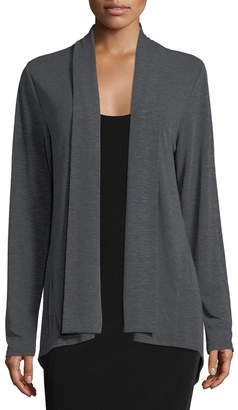 Neiman Marcus Shawl-Collar Open-Front Sweater