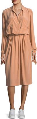 Vince Slit-Back Knee-Length Shirt Dress