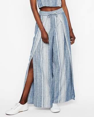Express Petite High Waisted Striped Linen-Blend Pant