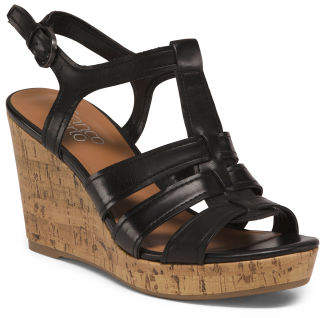 Cork Wedge Leather Sandals
