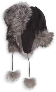 Adrienne Landau Fox Fur Pom-Pom Trapper Hat