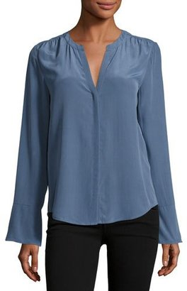 Joie Ceegan Long-Sleeve Silk Top, Blue $278 thestylecure.com