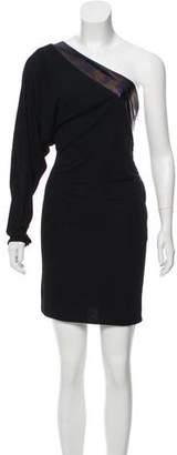 Gucci Leather-Trimmed Mini Dress