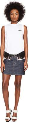 DSQUARED2 Denim Check and Leather Nylon Mix Skirt Women's Active Sets
