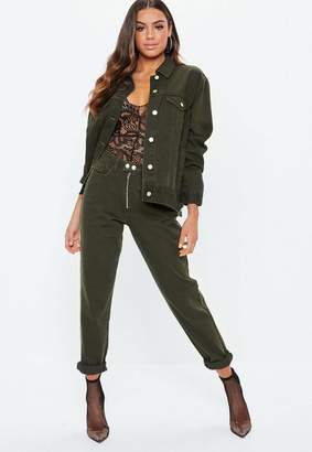 Missguided Khaki Denim Double Popper High Rise Jeans