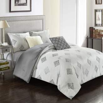 Better Homes & Gardens Embroidered Diamond Shape Comforter Set, Twin, White and Grey, T