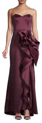 Badgley Mischka Platinum Strapless Ruffled Gown