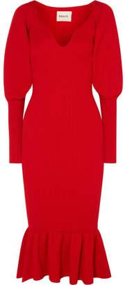Khaite - Ina Ruffled Ribbed Wool Midi Dress - Red