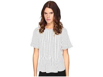 Kate Spade Pin Dot Pintuck Top Women's Clothing