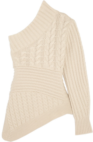 Burberry  Burberry - One-shoulder Cable-knit Cashmere Sweater - Ivory