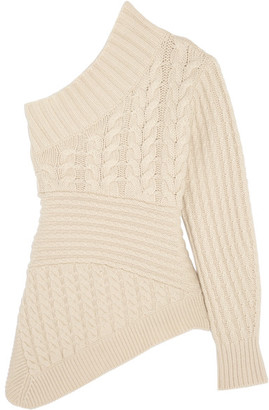Burberry - One-shoulder Cable-knit Cashmere Sweater - Ivory $1,395 thestylecure.com