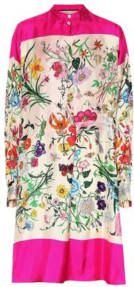 367f3c11146a Gucci Floral silk twill shirt dress