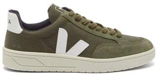 Veja V 12 Suede And Mesh Low Top Trainers - Mens - Green