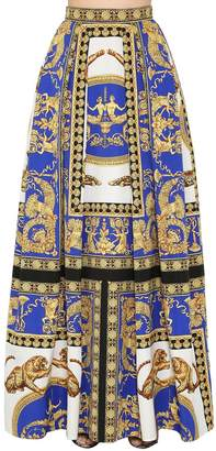 Versace Pleated Printed Cotton & Silk Maxi Skirt