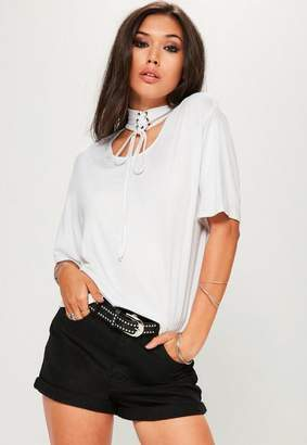 Missguided White Lace Up Choker Neck T-Shirt