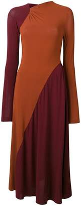 Victoria Beckham colour block flared dress