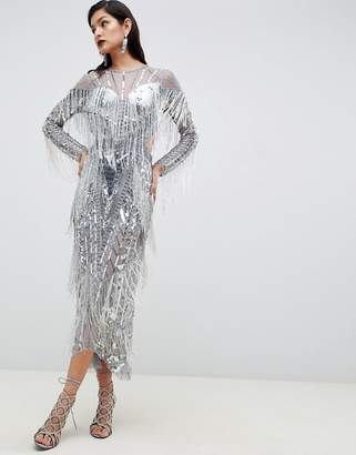 d4a880335f7f7c Asos Edition EDITION sequin   fringe cut out midi dress