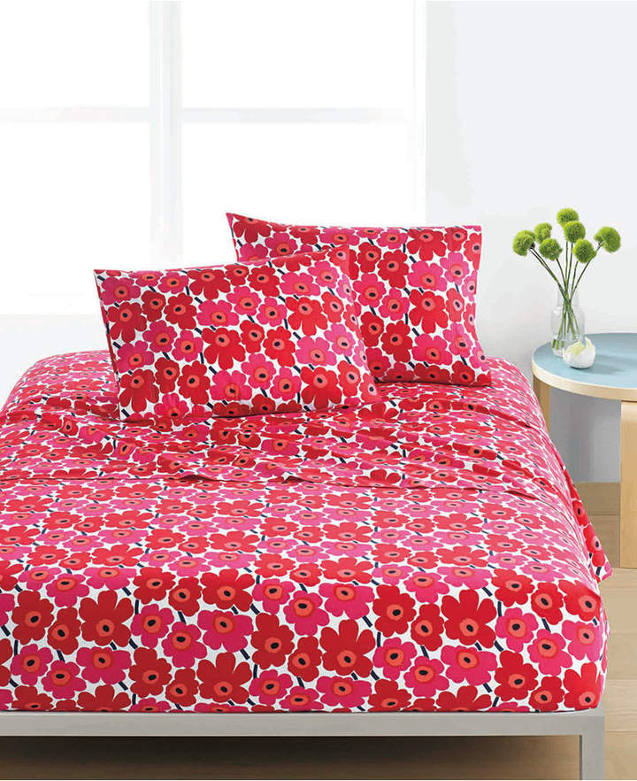 Marimekko Mini Unikko Cotton 200-Thread Count 4-Pc. Red Floral King Sheet Set Bedding