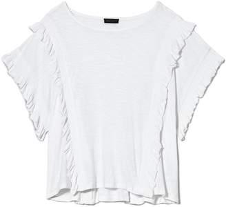 Vince Camuto Slub-knit Ruffled T-shirt