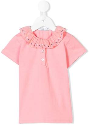 Knot ruffle collar polo top