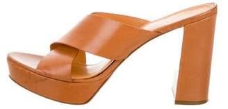 Mansur Gavriel Leather Crossover Slide Sandals