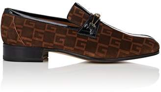 Gucci Men's Logo-Print Striped Suede Loafers