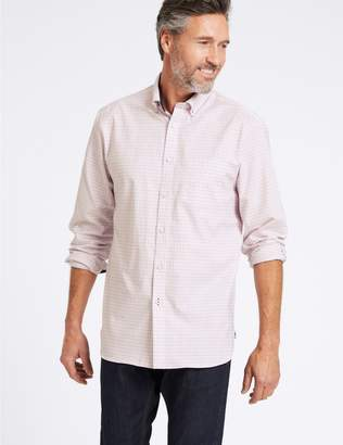 Marks and Spencer Cotton Rich Checked Shirt with Pocket
