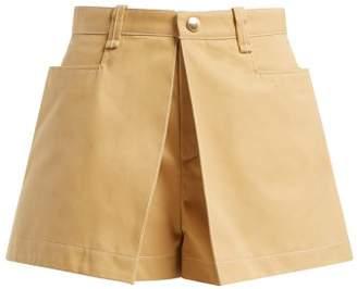 Chloé Mid Rise Cotton Gabardine Shorts - Womens - Beige