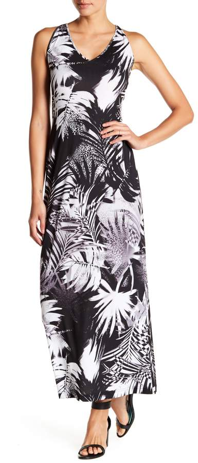 Amelia Patterned Strappy Racerback Maxi Dress