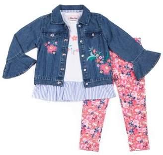 Little Lass Denim Jacket, Short Sleeve Ruffled Hem Top & Floral Printed Legging, 3pc Outfit Set (Baby Girls & Toddler Girls)