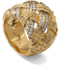 Michael Aram Palm Woven 18k Gold & Diamond Band Ring