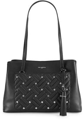 Karl Lagerfeld Paris Studded Woven Leather Tote