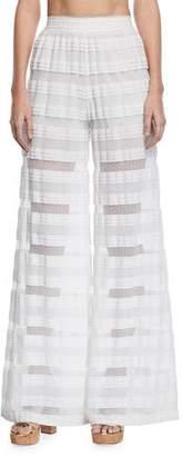 Jonathan Simkhai Wide-Leg Knit Combo Coverup Pants