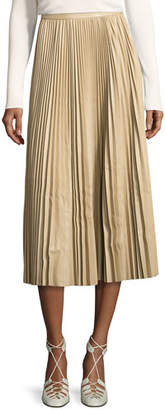 The Row Locle Pleated Leather Midi Skirt, Khaki