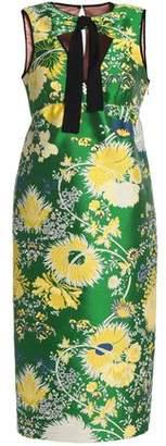 Rochas Cutout Cotton-Blend Brocade Dress