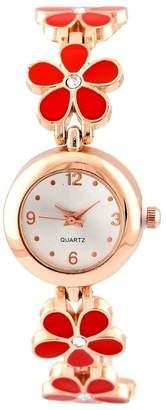 Pappi Boss Designer Red Flower Golden Chain Bracelet Watch For Girls, Women