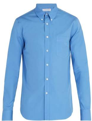 Alexander McQueen Slim Fit Cotton Poplin Shirt - Mens - Blue