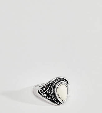 Asos DesignB London DesignB Silver Chunky Ring With Cream Stone Exclusive To