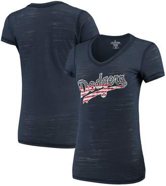 Americana Unbranded Women's Soft as a Grape Navy Los Angeles Dodgers Stars & Stripes Tri-Blend V-Neck T-Shirt
