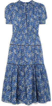 Ulla Johnson Corrine Floral-print Cotton And Silk-blend Dress - Blue