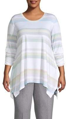 Context Plus Horizontal Striped Ruched-Sleeve Tunic