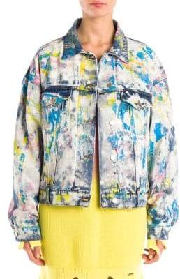 MSGM Paint Splatter Denim Jacket